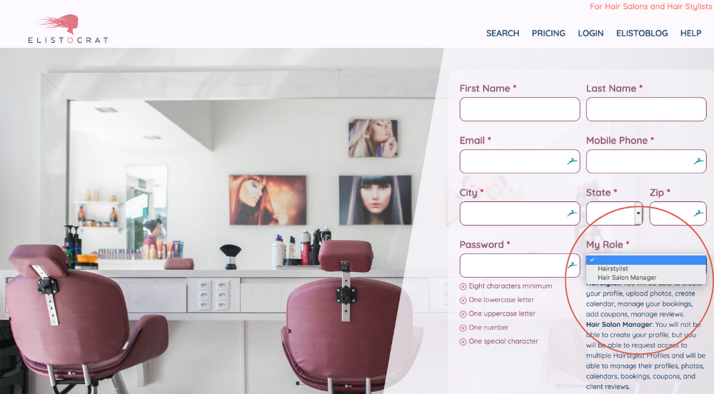 How to Register and Set up Stylist Profile